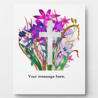 Cross with White Background and lots of flowers. Plaque
