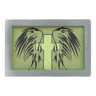 cross with wings belt buckle green