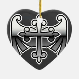 Cross with wings gunmetal chrome Vector Icon Ceramic Ornament
