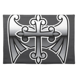 Cross with wings gunmetal chrome Vector Icon Cloth Placemat