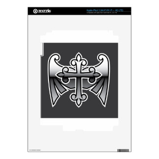 Cross with wings gunmetal chrome Vector Icon Decal For iPad 3
