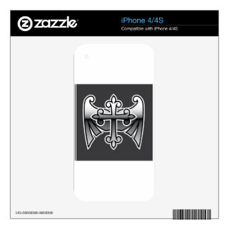 Cross with wings gunmetal chrome Vector Icon Decals For The iPhone 4S