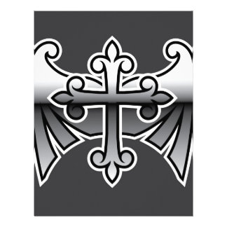 Cross with wings gunmetal chrome Vector Icon Letterhead
