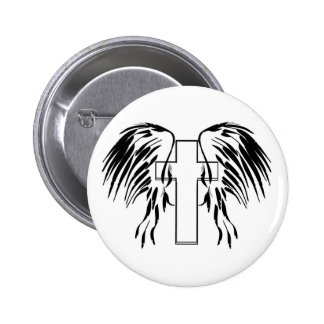 Cross with wings pinback button