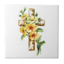 Cross With Yellow Flowers Ceramic Tile