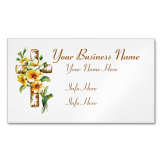 Cross With Yellow Flowers Magnetic Business Card