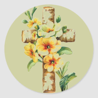 Cross With Yellow Flowers Round Stickers