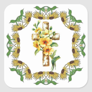 Cross With Yellow Flowers Stickers