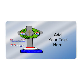 Cross & Wreath -  Memorial Day Label Shipping Label