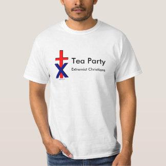 cross x, Tea Party = Exrtemists Christians, Tea... Tee Shirt