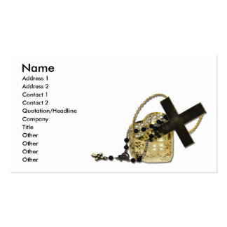 CrossandRosary, Name, Address 1, Address 2, Con... Business Card Template