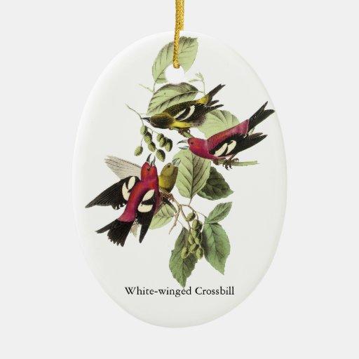 Crossbill Blanco-con alas - John James Audubon Adorno Ovalado De Cerámica