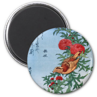 Crossbill en un cardo, Hokusai Imán Redondo 5 Cm