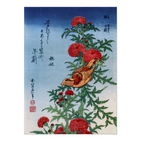 Crossbill on a Thistle, Hokusai Poster