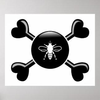 Crossbones Bees Poster