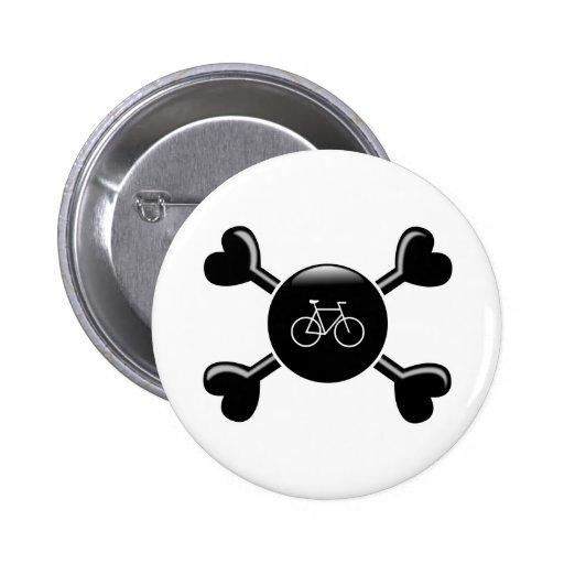 Crossbones Bicycling Pinback Button