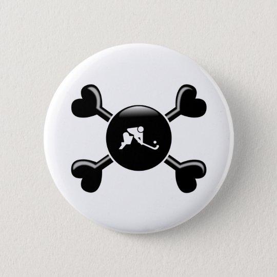 Crossbones Field Hockey Pinback Button