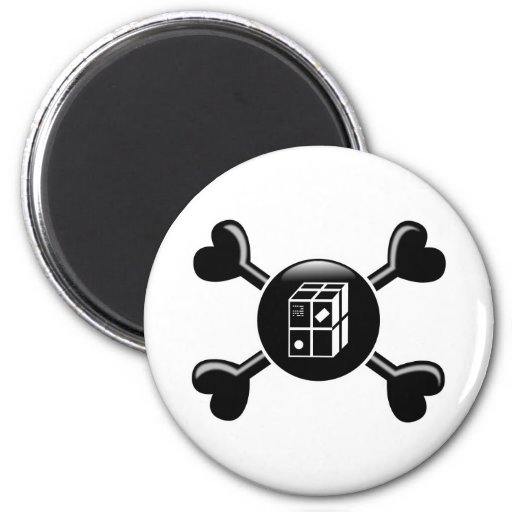 Crossbones Shipping 2 Inch Round Magnet