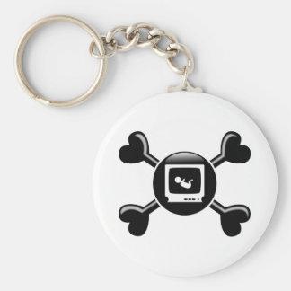 Crossbones Sonograms Basic Round Button Keychain