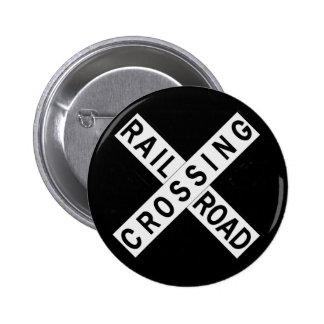 Crossbuck 2 Inch Round Button