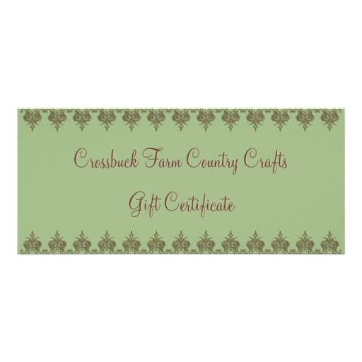 Crossbuck Farm Country Crafts - Gift Certificate Personalized Rack Card
