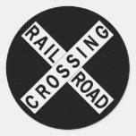 Crossbuck Round Sticker