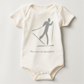 Crosscountry skiing.....the cure to boredom baby bodysuit