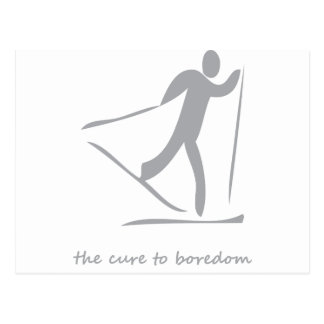 Crosscountry skiing.....the cure to boredom postcard