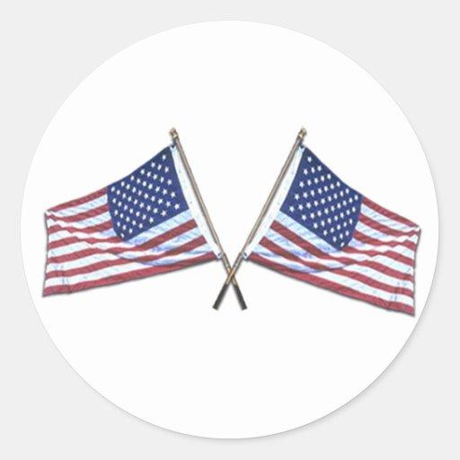Crossed American Flags Sticker