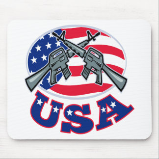 Crossed Ar-15's American Flag USA Mouse Pad
