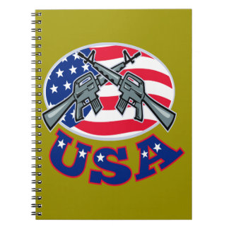 Crossed Ar-15's American Flag USA Spiral Notebook
