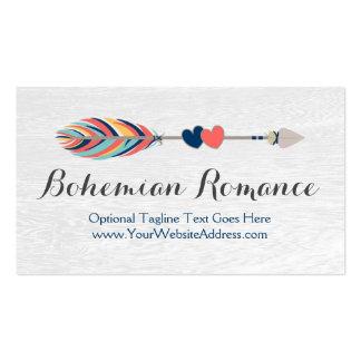Crossed Arrows On Rustic Wood - Bohemian Romance Business Card