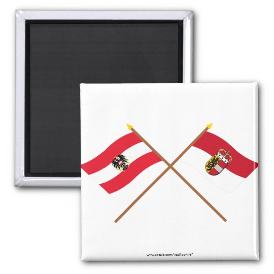 Crossed Austria and Salzburg flags 2 Inch Square Magnet