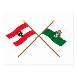 Crossed Austria and Steiermark flags Postcard