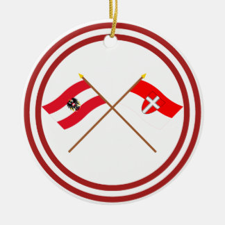 Crossed Austria and Wien flags Christmas Tree Ornament