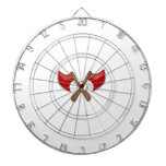 Crossed Axes Dartboard With Darts