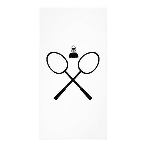 Crossed Badminton rackets Photo Card