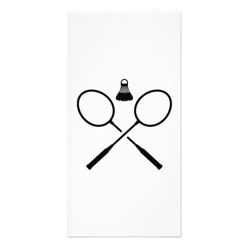 Crossed badminton rackets personalized photo card