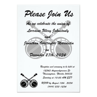 crossed banjos black invitations