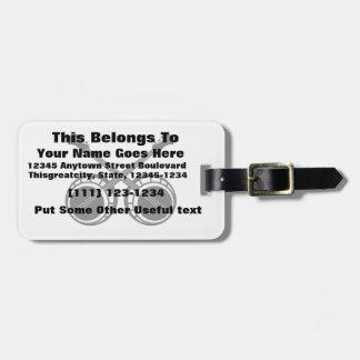 crossed banjos black tag for luggage