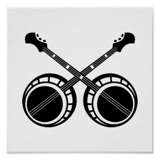 crossed banjos black poster