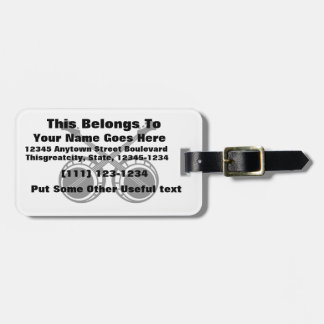 crossed banjos black tag for luggage