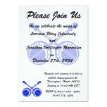 "crossed banjos blue 5"" x 7"" invitation card"
