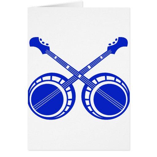 crossed banjos blue greeting card