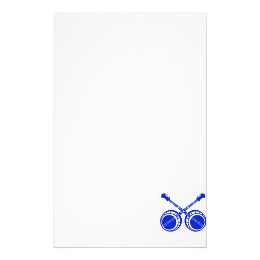 crossed banjos blue personalized stationery
