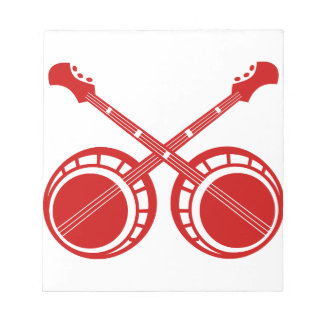 crossed banjos red notepad