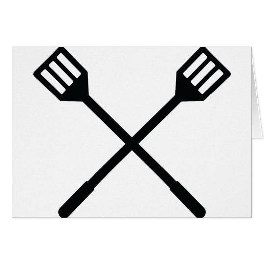 crossed barbecue cutlery icon card