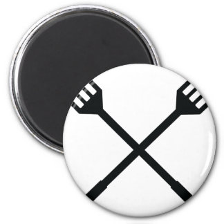 crossed barbecue cutlery icon magnet