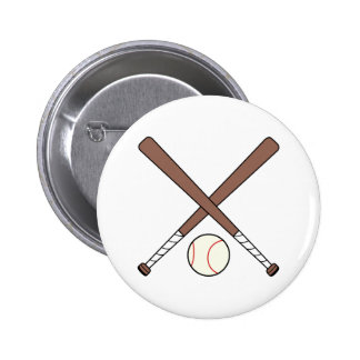 CROSSED BASEBALL BATS AND BA 2 INCH ROUND BUTTON