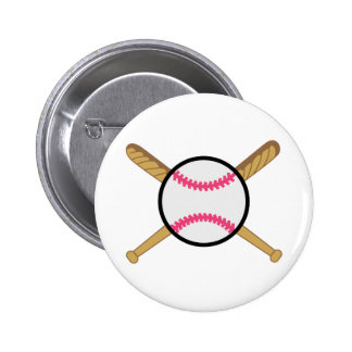 Crossed Baseball Bats 2 Inch Round Button